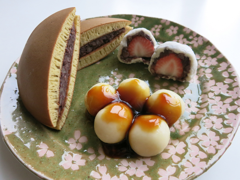 Japanese sweets - dorayaki, dango, and daifuku