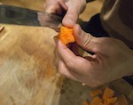 You'll learn how to sharpen your knives at home and basic Japanese decorative cutting techniques.