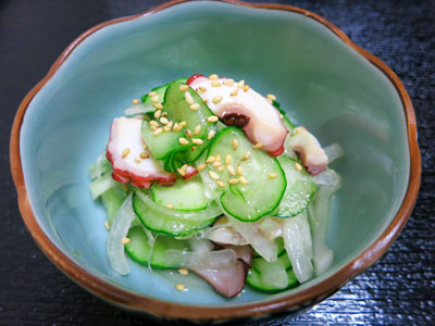 Octopus and cucumber with vinegar marinade