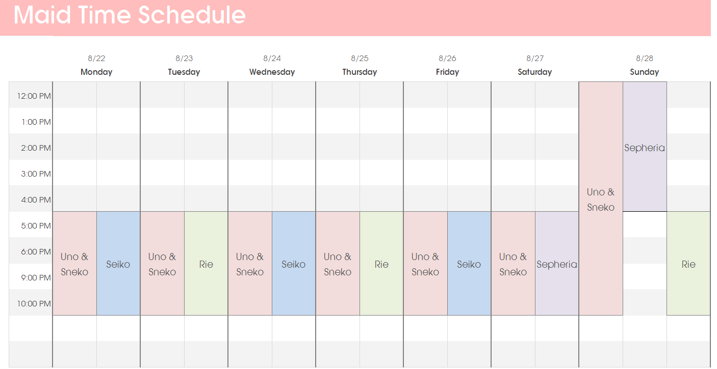 Maid Time Schedule