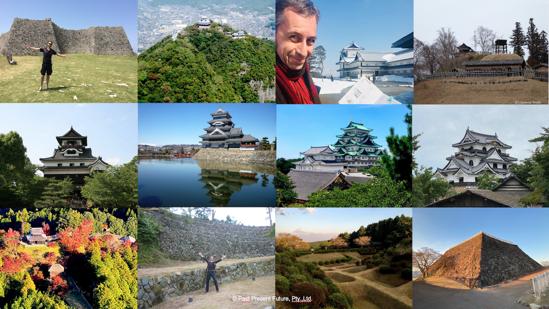 A collage of images of Japanese castles.